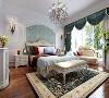 主卧室整体色调以偏冷色调为主,原木色地板,典雅的窗帘,洁白的护墙板搭配素雅的花纹壁布相互呼应,让整个房间更加的温馨舒适,绿色盆栽和阳台一处的休闲沙发为整个空间增添了一丝曼妙之意。