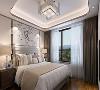 次卧:次卧以简洁大方为主,床的背景墙也采用了硬包的形式 ,中间为梅花下垂式壁画,整体色调与主卧相同,窗帘颜色与整体呼应,顶面地面与主卧相同