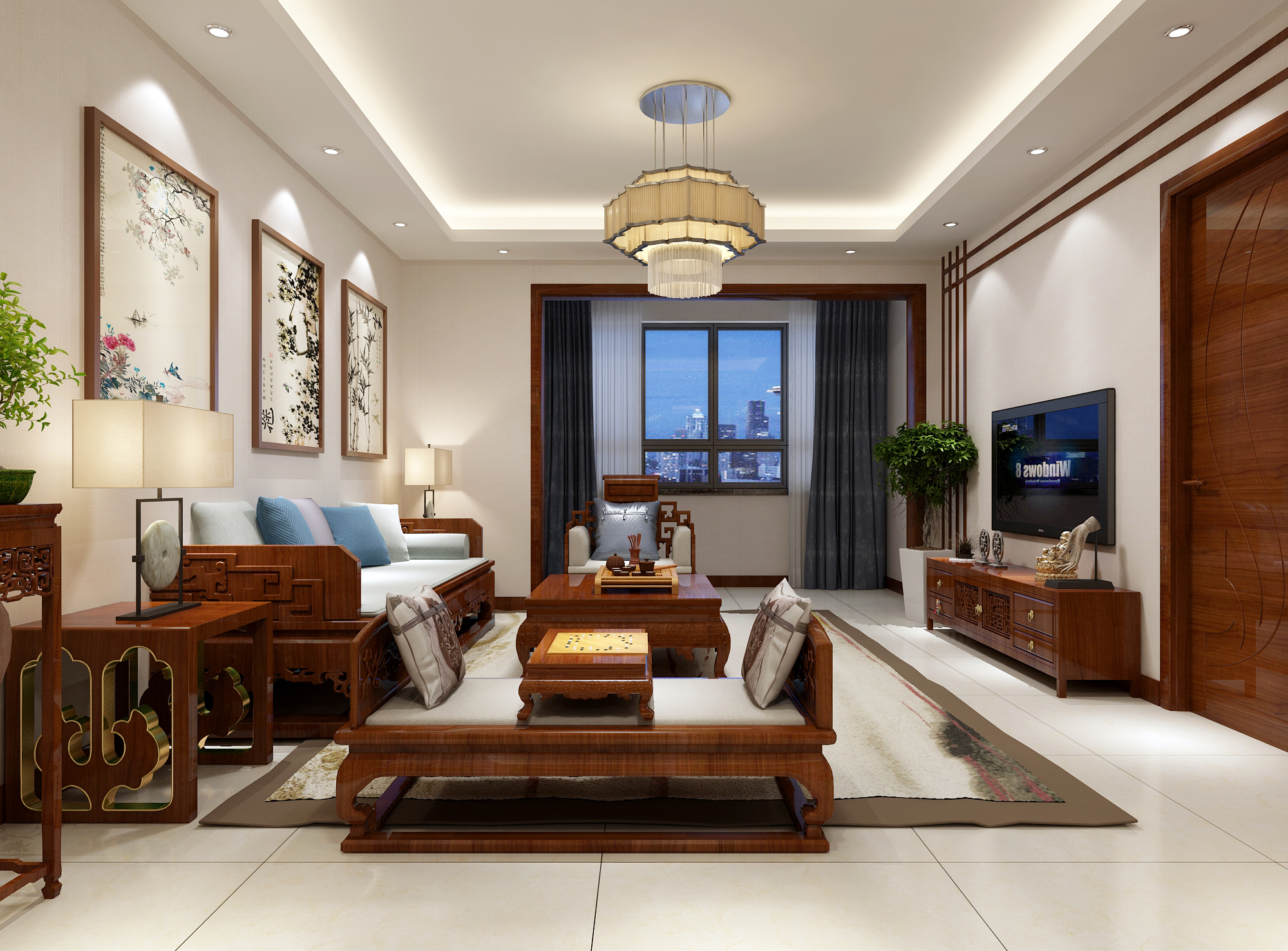 三居 80后 新中式 客厅图片来自业之峰装饰旗舰店在团圆中国结的分享