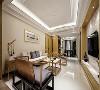 影视墙的造型简洁现代和沙发上方的水墨画交相呼应,并在影视墙旁饰以明清风格的窗棂,这种绝妙的组合给人以强烈的视觉意志力,成为时尚与古典的柔媚结合。客厅、餐厅、茶区连成一线,使得空间更加的开阔。