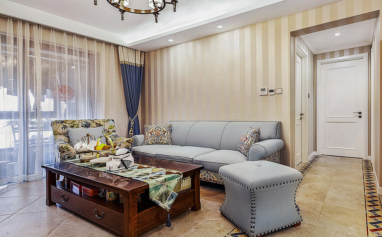 客厅图片来自家装大管家在101平简约美式3居 细腻美妙之家的分享