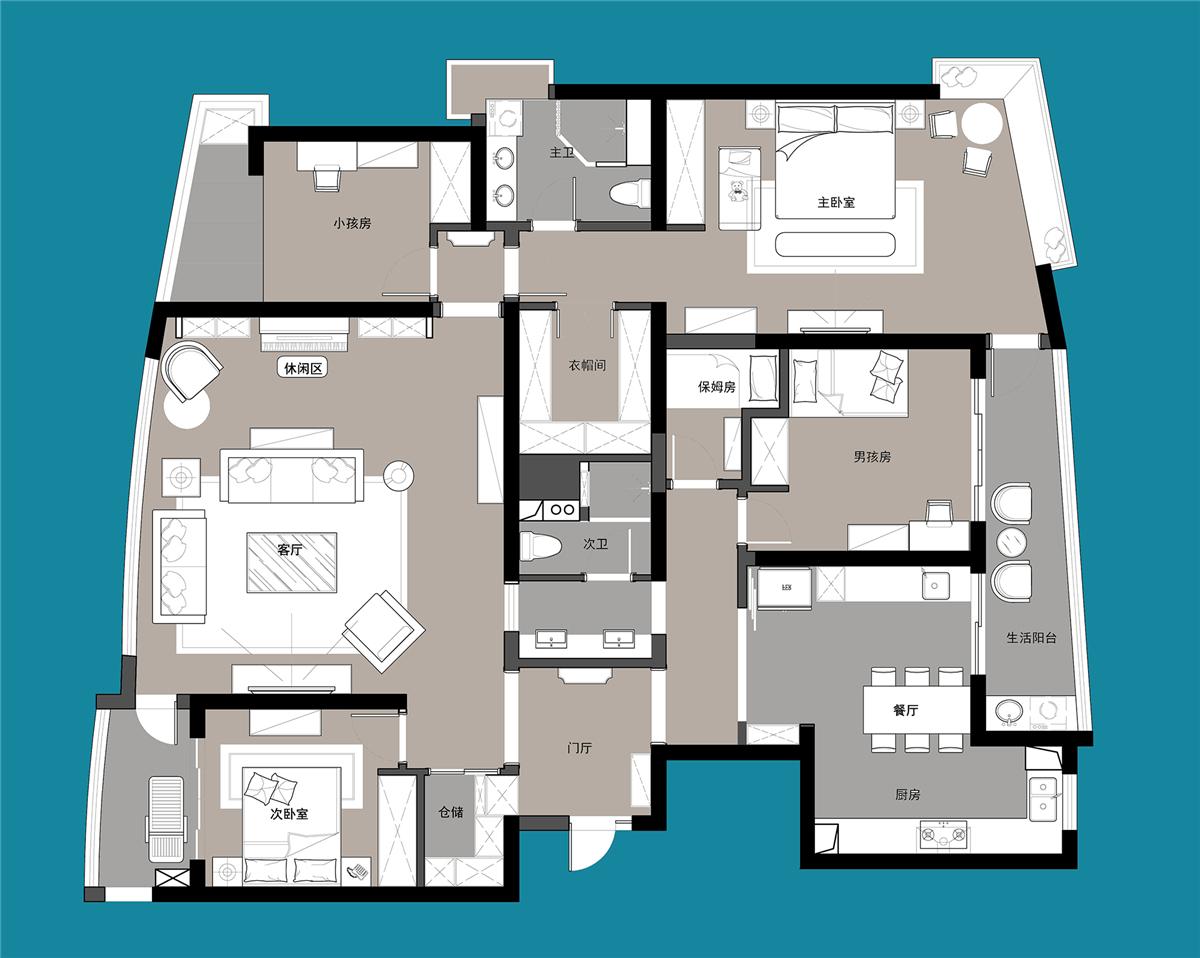 四居 美式 上海装修 设计师 上海映象 上海设计 幸福空间 户型图图片来自幸福空间在荏苒 |美式随兴恬淡之家的分享