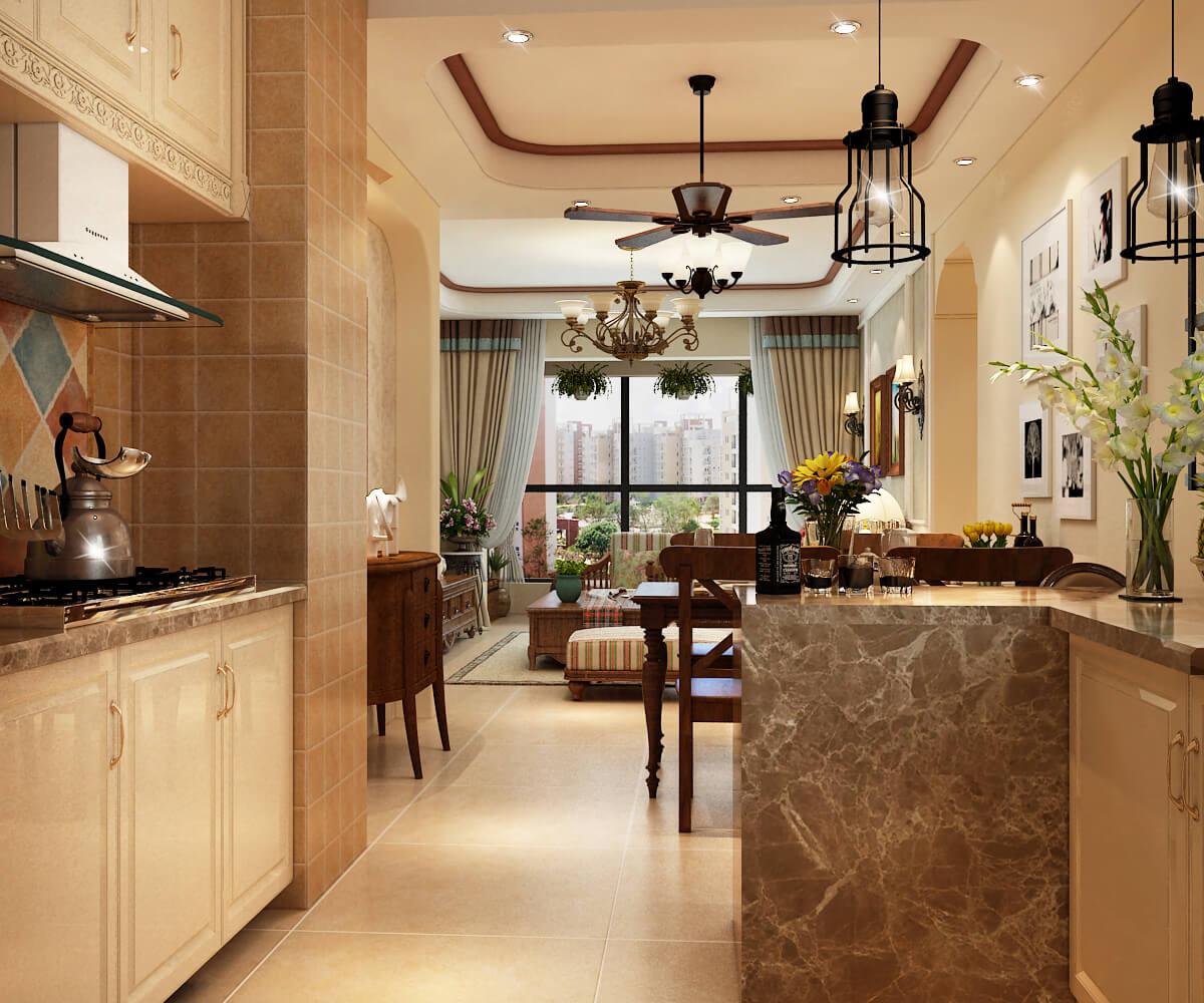 田园 客厅 厨房 餐厅 过道 走道图片来自乐粉_20190314172533168在美式田园风格的分享
