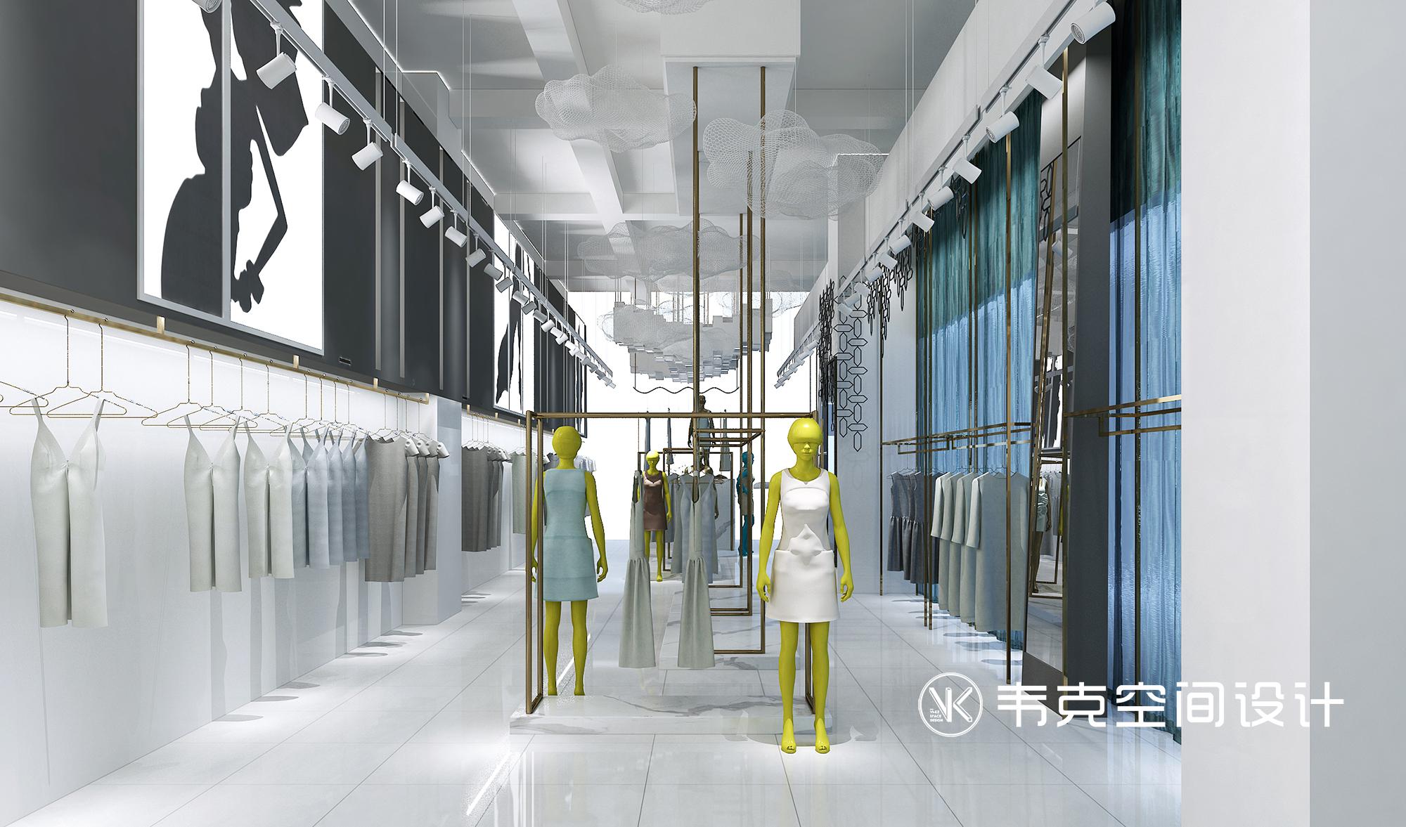 客厅图片来自韦克空间设计在莫兰迪蓝女装店设计的分享