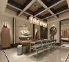 走道区域运用可移动隔断的装饰手法且采用中国传统文案配以简单的线条框,带出简约东方味道的同时又丰富了客厅与餐厅间的趣味性。