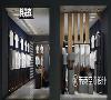 本案告别老旧落后的男装店面设计、呆板无趣的陈列风格,采用了黑色、深蓝色等冷色系,墙面顶面的灯光片配合照明光源,巧妙运用光影区分出空间感,营造出极具魅力的空间氛围效果。