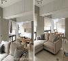 轻隔间运用 位于空间底端的寝居空间使用透明浪板搭配窗帘作为轻隔间,展现出原本的采光优势。
