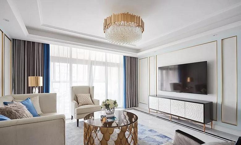 客厅图片来自家装大管家在146平轻奢美式3居 都挺好的生活的分享