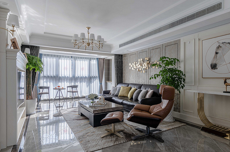 客厅图片来自家装大管家在110平简约美式3居 让宁静不低调的分享