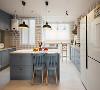 餐厨一体的设计,餐厅并入了厨房增加了储物空间的同时增加了厨房的空间感。