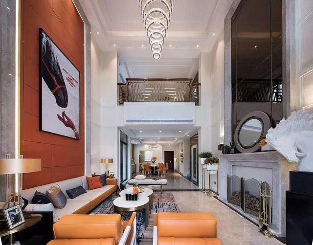 简约 别墅 设计 装修 客厅图片来自石家庄亿佰居装饰在460平米别墅爱马仕橙设计装修的分享
