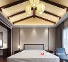"""主卧室重视环保舒适,通过原木、乳胶漆的重复使用,以简约的手法、温婉的柔情,映射左右,烘托出一派""""心静,人舒""""惬意。"""