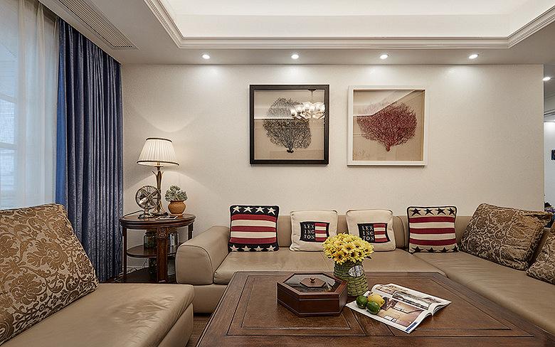 客厅图片来自家装大管家在美观实用 130平美式田园混搭3居的分享