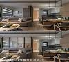 铝框玻璃折门 客厅与多功能房之间的铝框玻璃折门可视需求灵活收放,也可搭配附加的布料卷帘赋予隐私度,变化成客房或未来的孩子房。