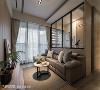 多功能房 沙发背墙与后方多功能房界面为铝框玻璃折门,透明材质能让身处两端的家人增加互动,同时提升端景的层次感与变化性。
