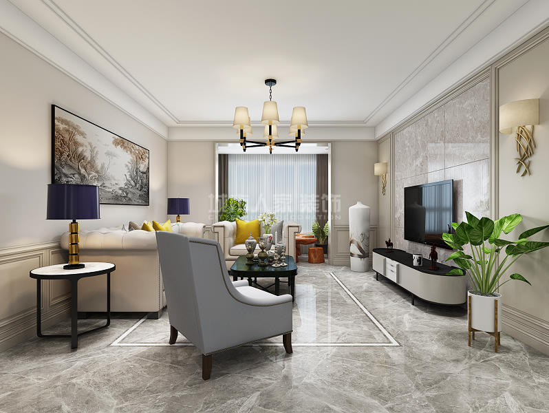 美式风格 三居 西安装修 装修公司 绿地城 客厅图片来自西安城市人家装饰王凯在西安绿地城140平现代美式风格的分享