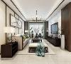 围合式的沙发与深色木质茶几,顶上多方格向四面展开的吊灯仿佛一朵绽放的方形白木兰。