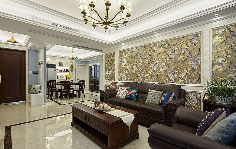 客厅图片来自家装大管家在149平美式温馨3居 随性舒适生活的分享