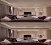 电视墙端景 延续古典语汇的设计法则,以对称的线板做为电视墙端景,左右两侧同时也是通往卧室空间的隐藏门片。