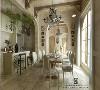 厨房是开敞的,同时有一个便餐台在厨房的一隅,在装饰上也有很多讲究,如喜好仿古面的墙砖、橱具门板,地砖,喜好用仿古旧漆、木梁,赋予主卧整个空间一种历史感。