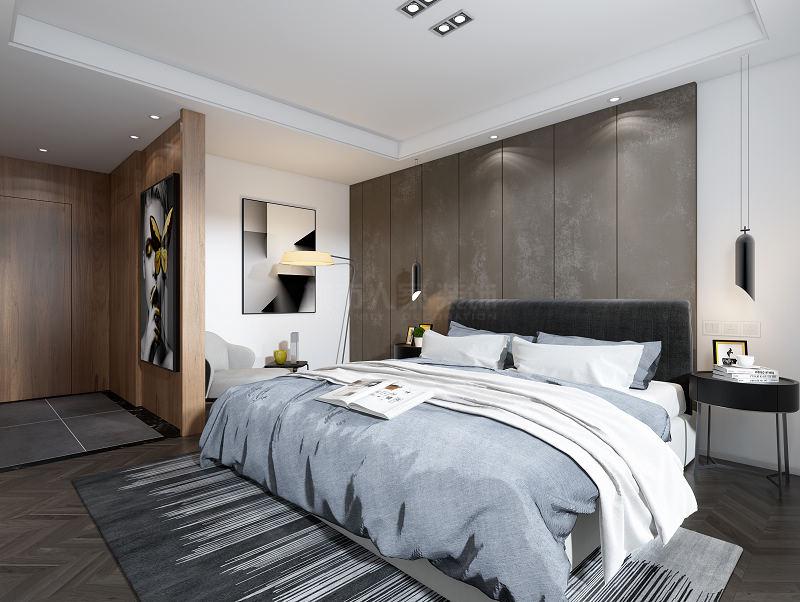 极简风格 现代轻奢 三居 西安装修 装修公司 卧室图片来自西安城市人家装饰王凯在金地湖城大境175㎡轻奢极简的分享