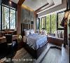 禅风儿子房 以屋主儿子喜爱的简约禅风为基调的空间设计,以带有粗旷阳刚味的仿板岩磁砖做为床头背墙,别具巧思的床头及书桌区的灯光设计,为空间注入温馨氛围。
