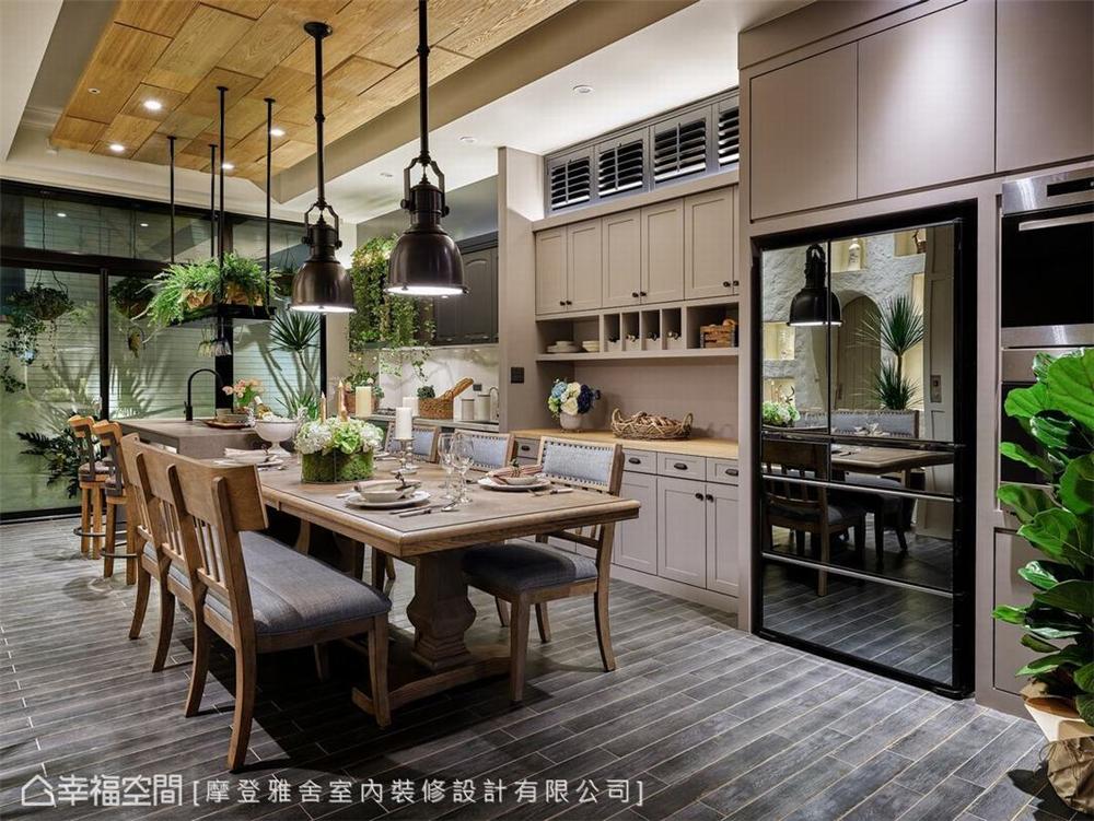 装修设计 装修完成 休闲多元异 餐厅图片来自幸福空间在198平,绿意工业风,舒适美宅的分享