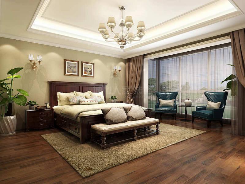 湖城大境 美式风格 西安装修 装修公司 四居 卧室图片来自西安城市人家装饰王凯在金地湖城大境240平简美风格的分享