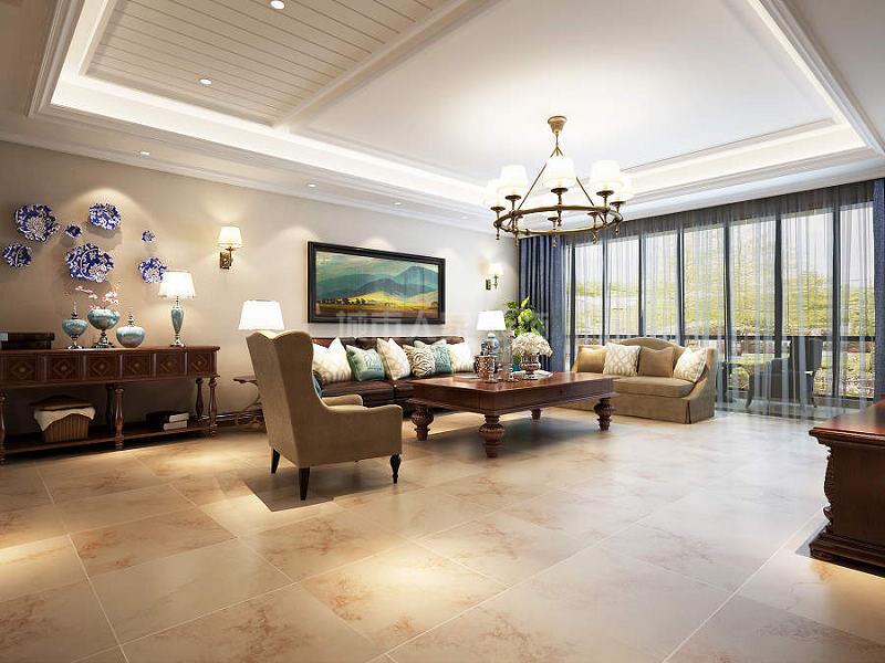 湖城大境 美式风格 西安装修 装修公司 四居 客厅图片来自西安城市人家装饰王凯在金地湖城大境240平简美风格的分享