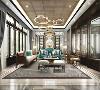 陈列在客厅的中式椅,做工精细,凸显品质感。跳色的丝绒沙发与抱枕形成强烈的对比,宁静优雅而不失灵动。古风落地窗既能看到窗外庭院春色满园,也增加了空间感。