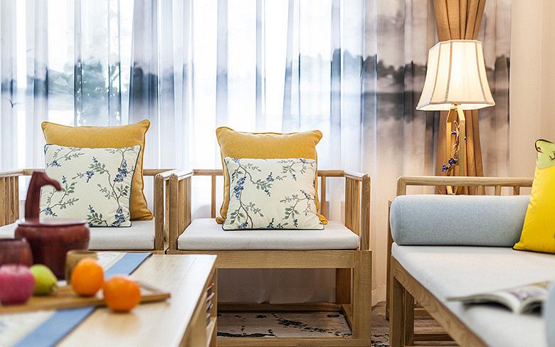 客厅图片来自家装大管家在淡雅清新气质 125平简约美式3居的分享