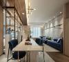 跨域设计 有别于传统的餐桌 /多功能桌设定,与客厅电视台面相互交叠的长桌设计让机能更为多元,牵引场域也诠释出崭新的空间意象。