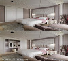 主卧室 不同于公领域的灰色系,主卧室以粉彩及古典图腾壁纸带来了柔和的感受,左右对拉的滑门,贴心的隐藏了一间令人惊喜的更衣室。