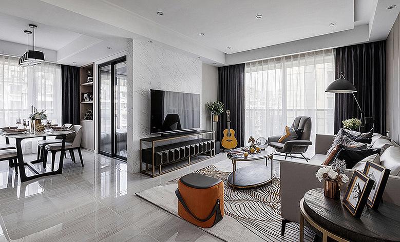 客厅图片来自家装大管家在特立独行 109平现代时尚大气3居的分享