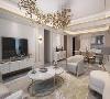 家具色彩搭配与空间整体一致,耀眼金色点缀纯白塑造高级感,极具设计感的吊灯,如时间凝结,于风中静止的金叶子,华丽中带着一种独特意境。