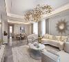 开放式空间通透明朗,整体以白色为主基调,用金色镶嵌,勾勒出奢华质感。浅灰色天然纹理大理石瓷砖,简约高格调的装饰,将本来就很通透的空间又延伸了一个层次。