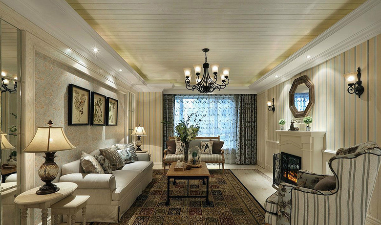 客厅图片来自家装大管家在精致自然 110平美式混搭舒适3居的分享