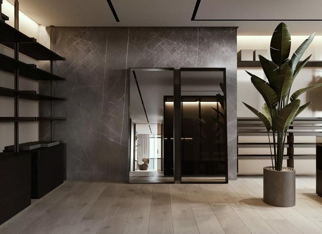 现代简约 时尚 木饰面 开放式厨房 灰镜 大平层 都市风 咖啡色 衣帽间图片来自几墨空间设计在几墨设计|浓郁的咖的分享