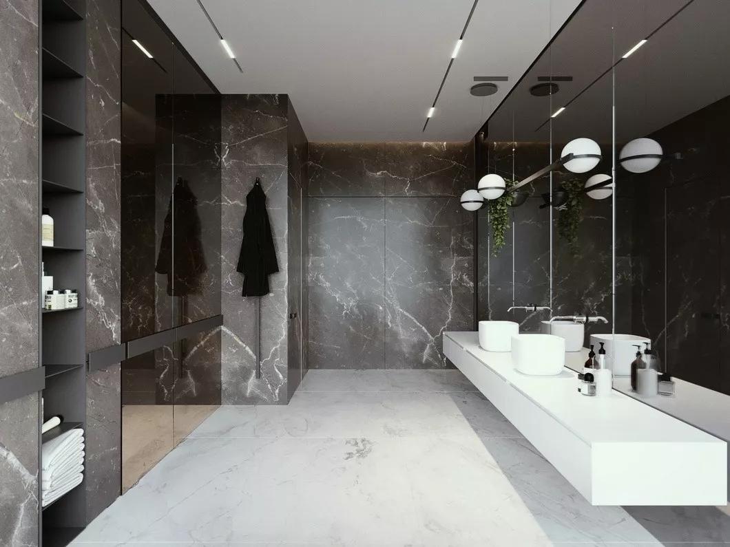 现代简约 时尚 木饰面 开放式厨房 灰镜 大平层 都市风 咖啡色 卫生间图片来自几墨空间设计在几墨设计|浓郁的咖的分享