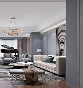 现代轻奢 大平层 大户型 灰蓝色的家 时尚 轻奢 现代 80后 客厅图片来自几墨空间设计在几墨设计|灰蓝色的家的分享