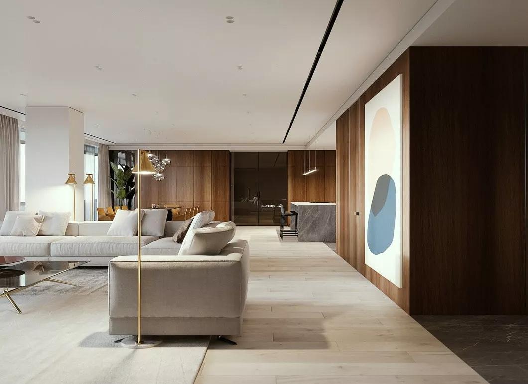 现代简约 时尚 木饰面 开放式厨房 灰镜 大平层 都市风 咖啡色 客厅图片来自几墨空间设计在几墨设计|浓郁的咖的分享