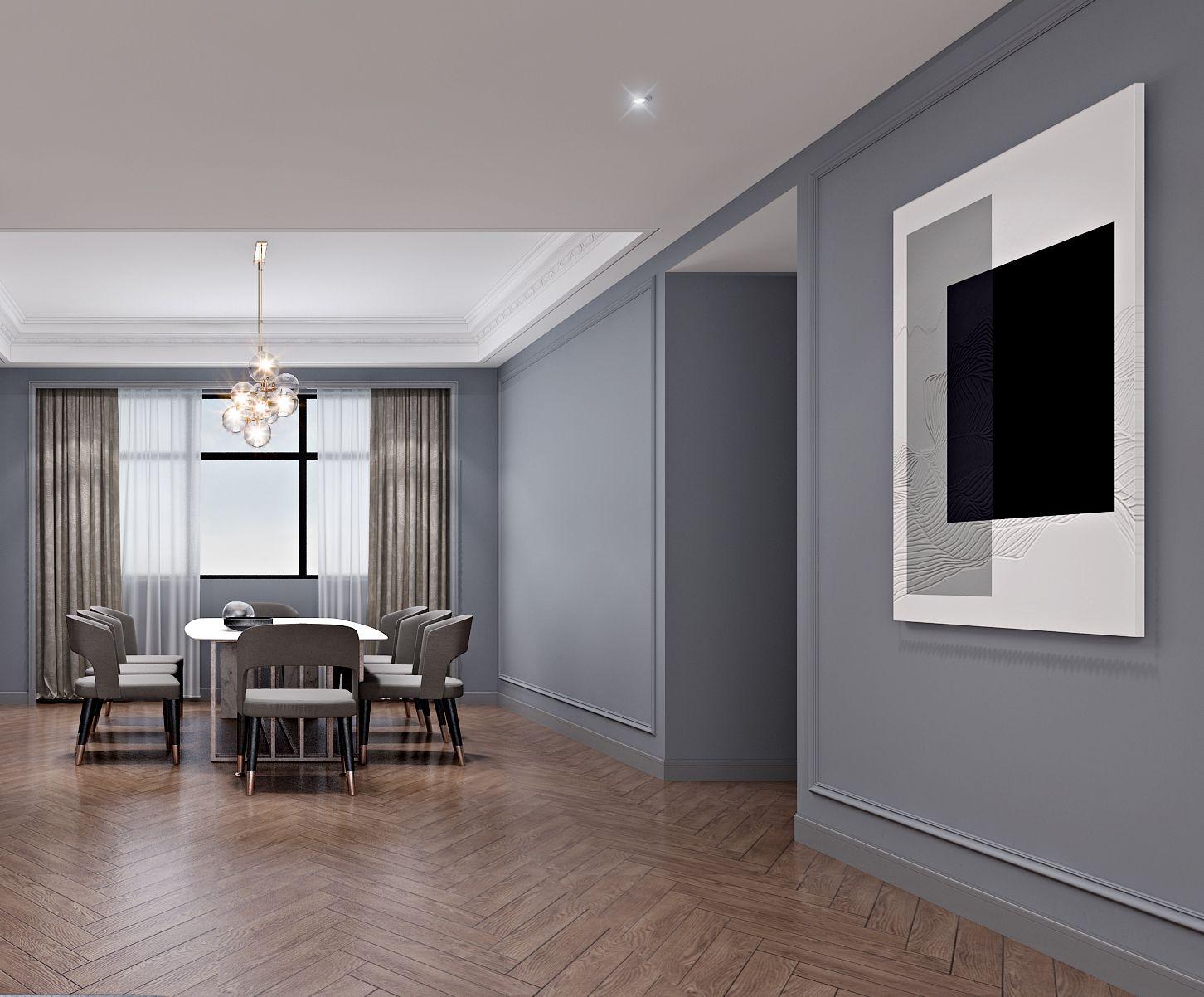 现代轻奢 大平层 大户型 灰蓝色的家 时尚 轻奢 现代 80后 餐厅图片来自几墨空间设计在几墨设计 灰蓝色的家的分享