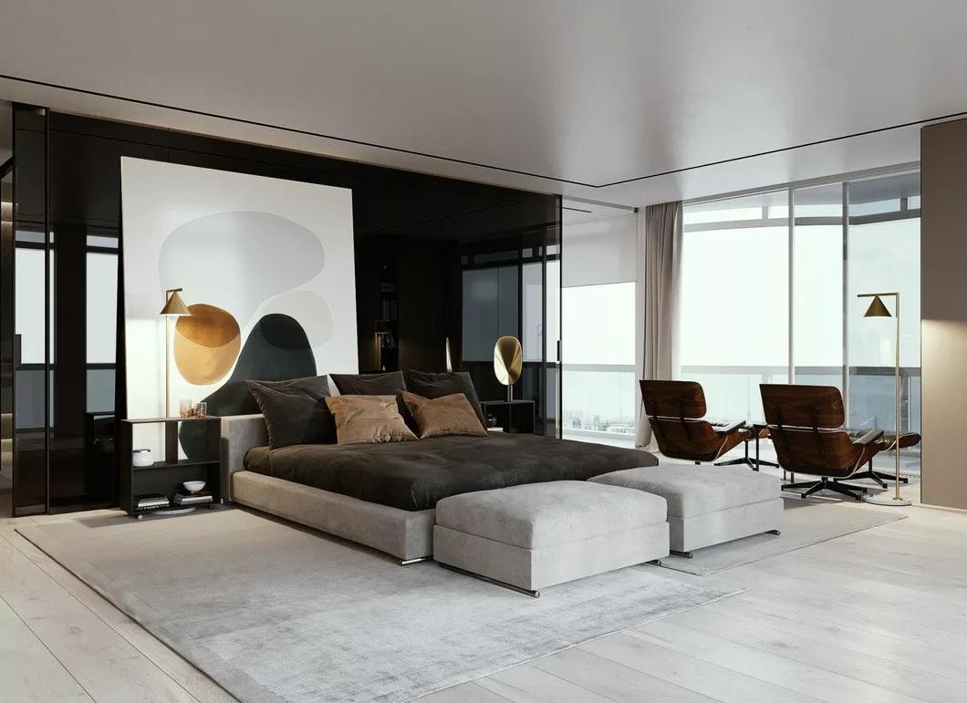 现代简约 时尚 木饰面 开放式厨房 灰镜 大平层 都市风 咖啡色 卧室图片来自几墨空间设计在几墨设计|浓郁的咖的分享