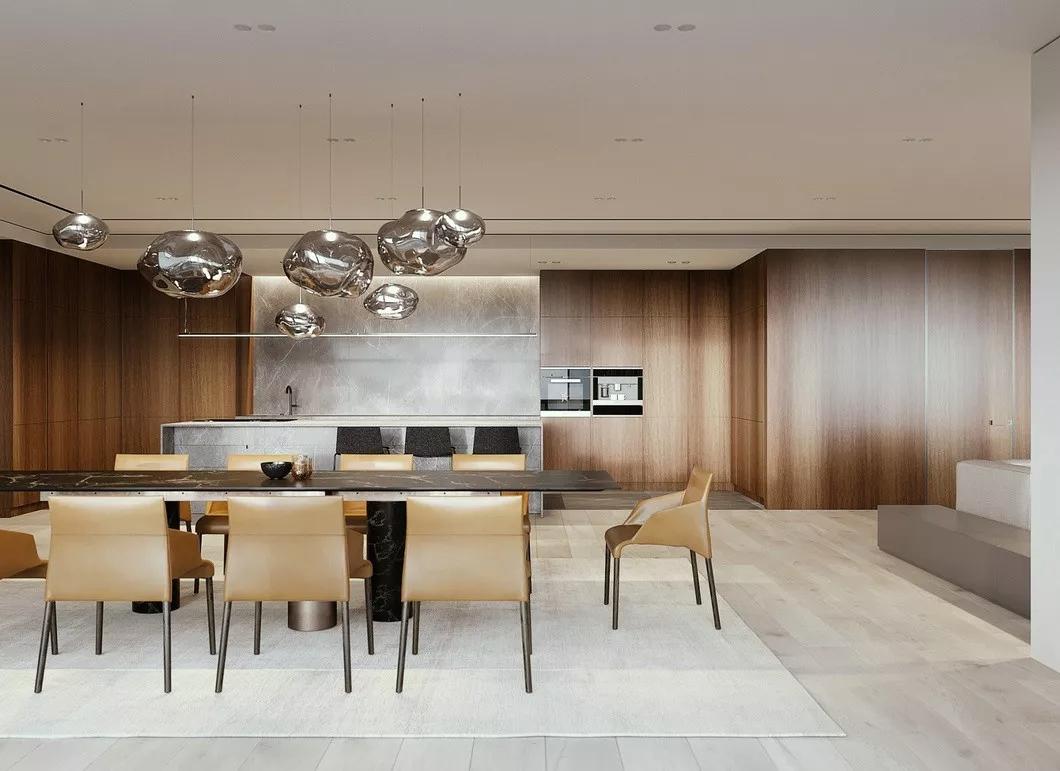 现代简约 时尚 木饰面 开放式厨房 灰镜 大平层 都市风 咖啡色 餐厅图片来自几墨空间设计在几墨设计|浓郁的咖的分享