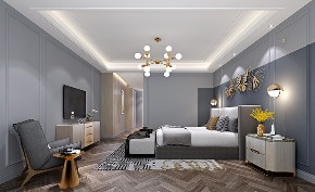 现代轻奢 大平层 大户型 灰蓝色的家 时尚 轻奢 现代 80后 卧室图片来自几墨空间设计在几墨设计|灰蓝色的家的分享