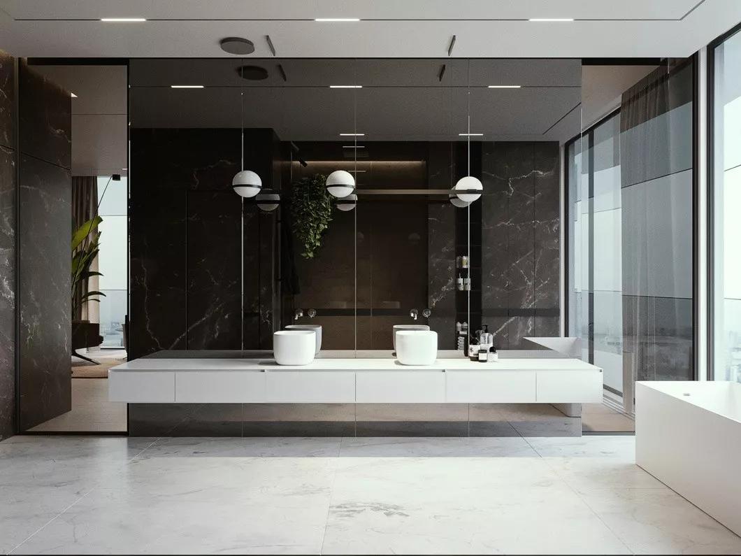 现代简约 时尚 木饰面 开放式厨房 灰镜 大平层 都市风 咖啡色 卫生间图片来自几墨空间设计在几墨设计 浓郁的咖的分享