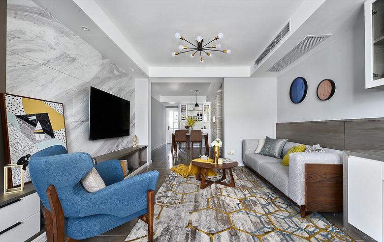 客厅图片来自家装大管家在120平现代简约3居 无拘无束生活的分享