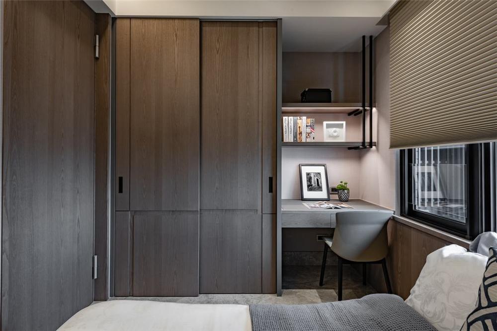 装修设计 装修完成 混搭 卧室图片来自幸福空间在149平,木石间的淳和与清丽对比的分享