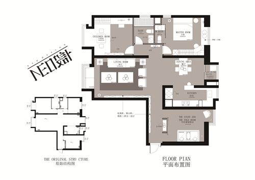 新中式 三居 福州设计师 白领 收纳 旧房改造 户型图图片来自尼欧 | NEO设计在尼欧—《墨痕》的分享