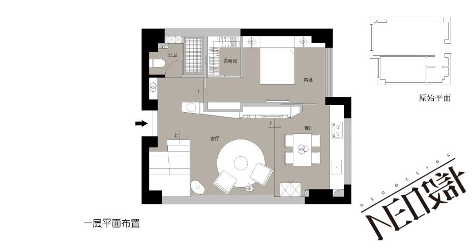 简约 现代 复式 白领 收纳 旧房改造 小资 户型图图片来自尼欧   NEO设计在尼欧—《重生》的分享